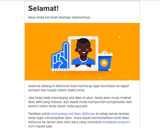 Contoh pesan diterima google adsense