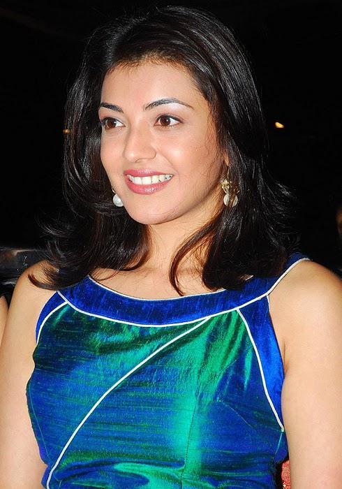 South Indian Beautiful Actress Kajal Agarwal Smiling Photos In Blue Dress