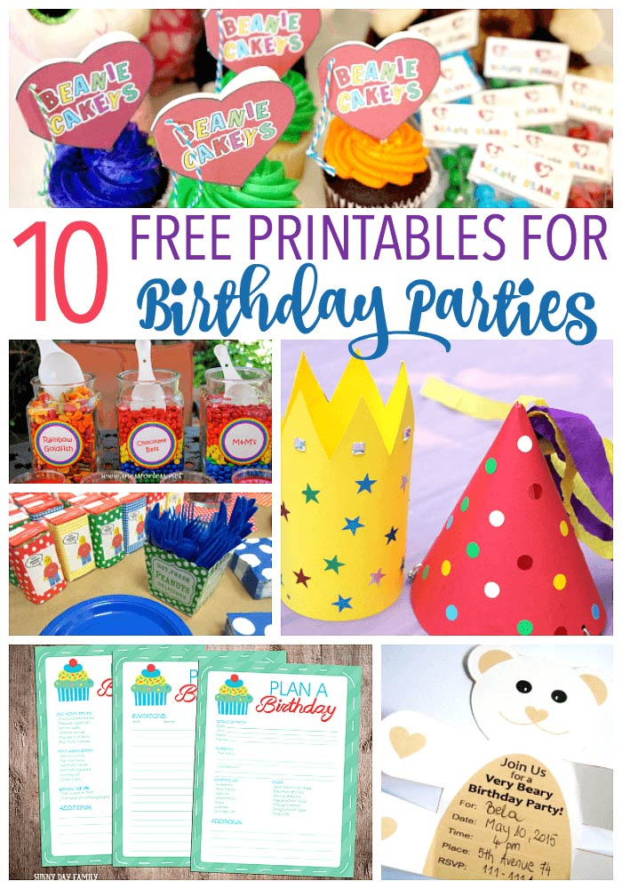 Plan your kids' birthday party on a budget with these free birthday party printables! Invitations, decorations, favors, and more - love these easy party planning ideas!