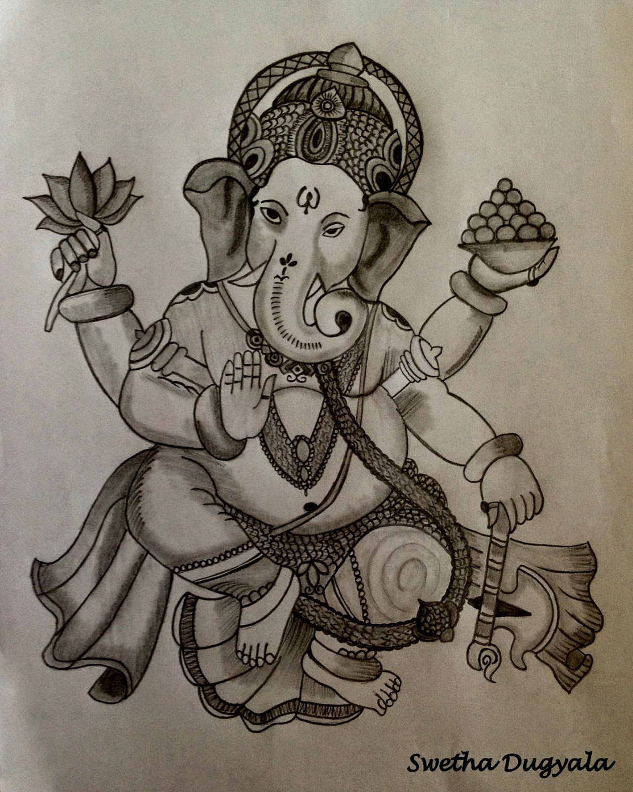 Lord ganesh pencil sketch