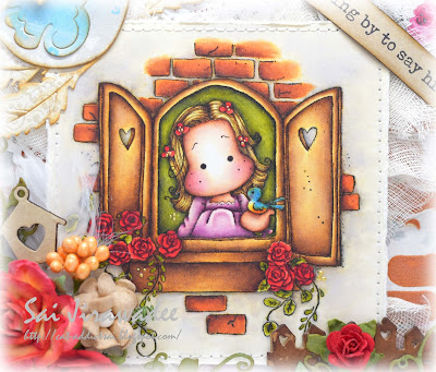 Autumn Magnolia Romantic Window Tilda with Bird free stamp