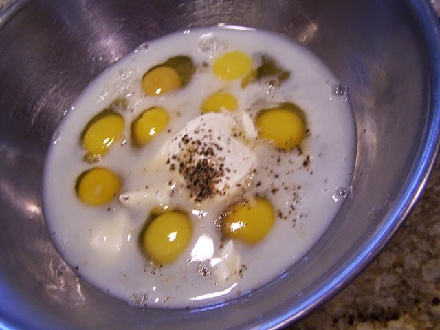 eggs, milk, and sour cream