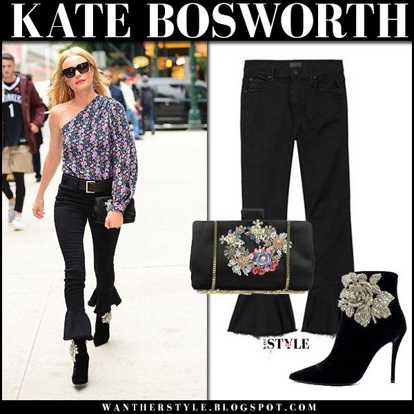 Kate Bosworth in one shoulder blouse and black flared cropped jeans mother denim november 7 2017 celebrity fall fashion