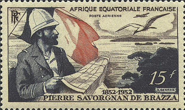 Postal stamp depicting Pierre Savorgnan de Brazza