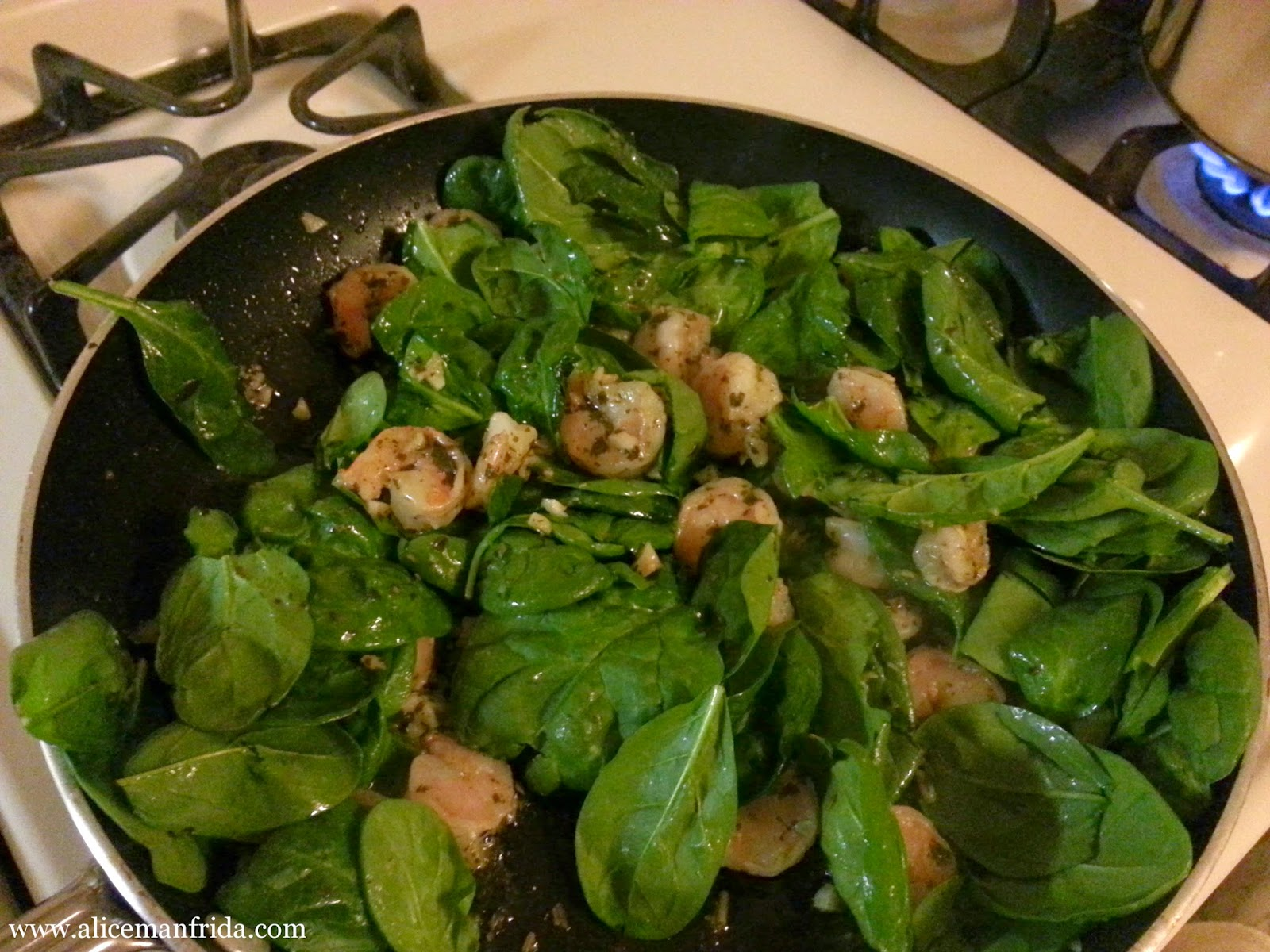 shrimp recipe, pesto, easy pasta recipe, weeknight dinner, Alice Manfrida, Alice Cooks