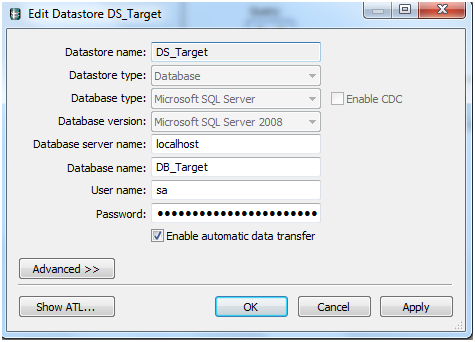 How to create a Database links in Data Services using SQL