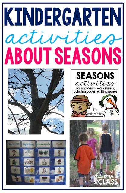 Four Seasons activities for Kindergarten and First Grade #seasons #sorting #kindergarten #1stgrade