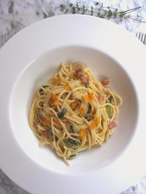 spaghetti carbonara courgette
