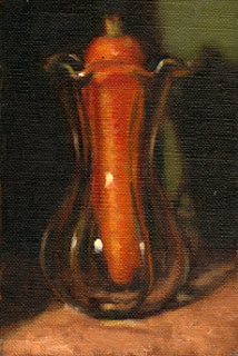 Oil painting of a carrot in a tulip-shaped glass vase.