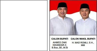 Contoh surat suara untuk Pilkada Kabupaten Tangerang