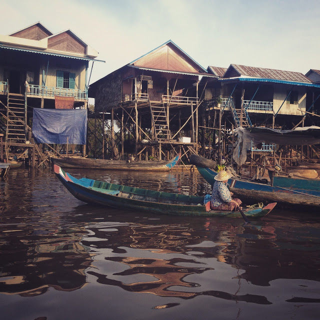 wooden stilt houses at Tonle Sap Lake, Cambodia