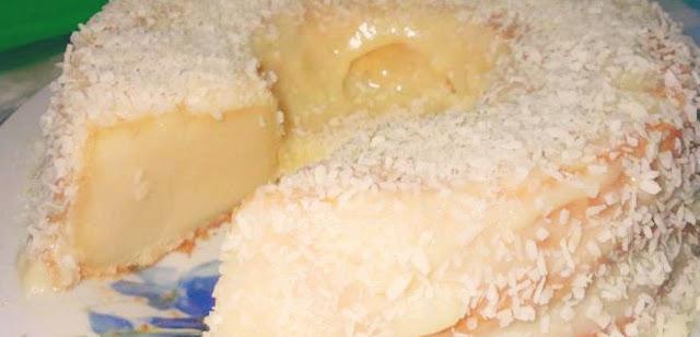 Bolo Pega Marido é muito cremoso e vai cobertura de coco.
