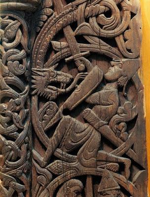Ο Σίγκουρντ σκοτώνει τον Δράκο Φάνφιρ, μεσαιωνικό γλυπτό