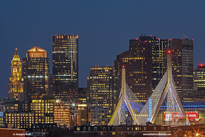 Boston skyline night photography