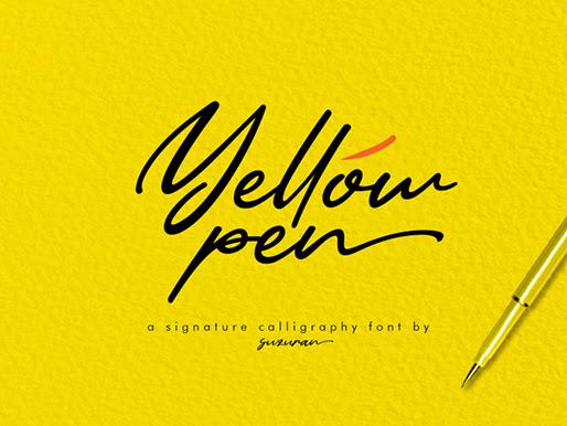 Yellow Pen Script Font Free Download