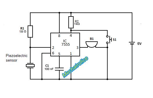 Burglar alarm circuit using piezoelectric sensor