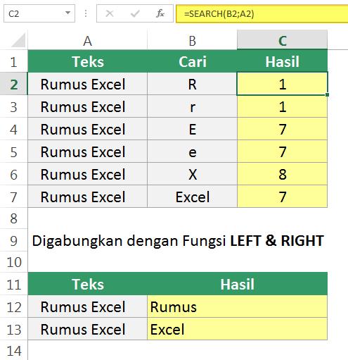 Contoh penggunaan fungsi Excel SEARCH dan SEARCHB