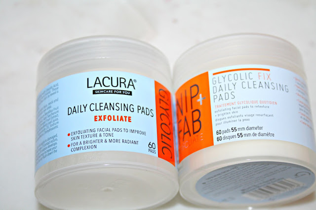 Aldi Lacura Glycolic Cleansing Pads tubs