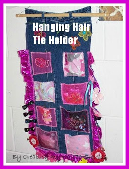 Hanging Hair Tie Holder from Jeans
