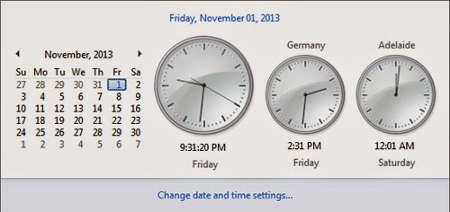 Default Additional Clock in Windows 7
