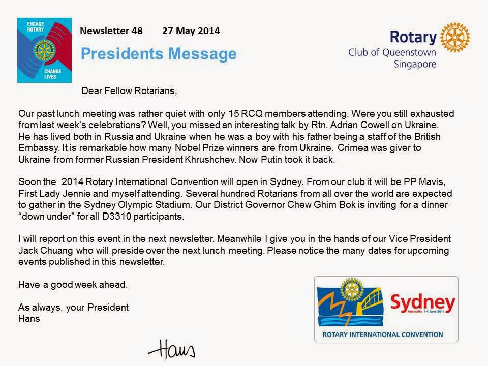 Rotary Club of Queenstown, Singapore: NEWSLETTER 48, MAY 2014