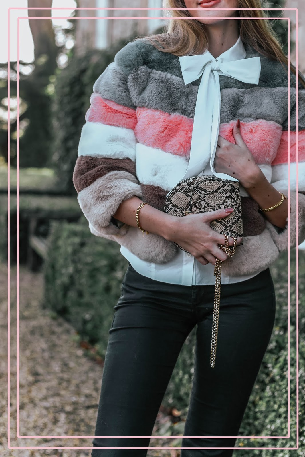 Mango Snakeskin Gold Chain Handbag