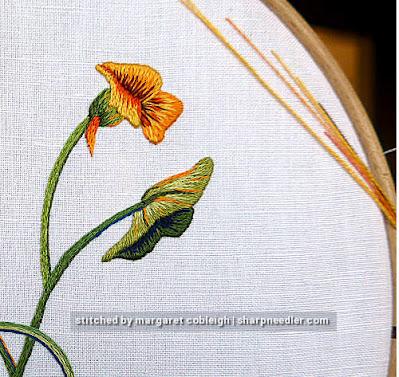 Needlepainted nasturtium bud and leaf detail. (Catherine Laurencon Capucines (Inspirations))