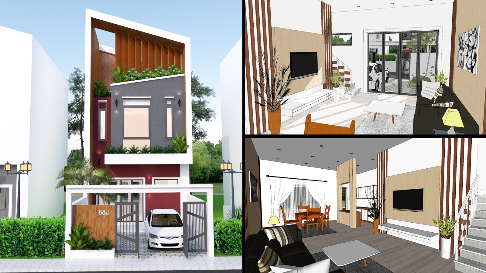 Sketchup Small House Design Plan 5.6x8 with Interior 3 ...