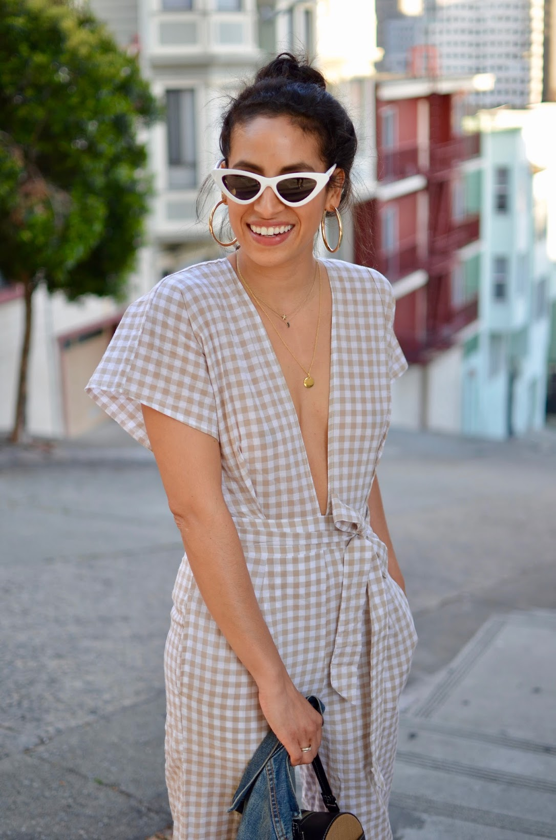 Vasic circle bag, Faithfull the Brand low v neck jumpsuit, gingham jumpsuit, retro sunglasses