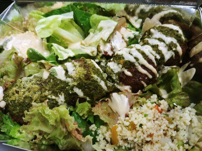 Falafel salad at Peppy Olive