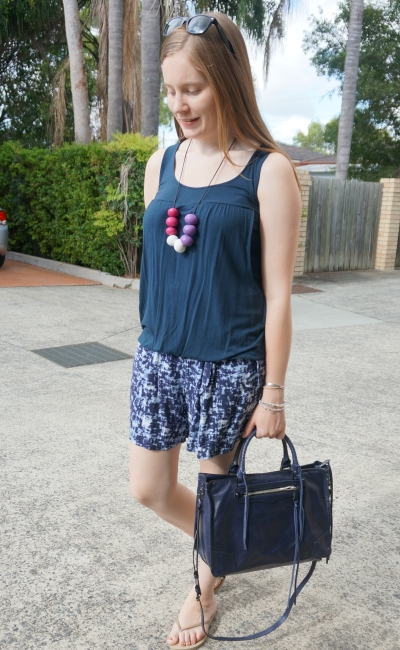 monochrome navy printed shorts outfit summer road trip rebecca minkoff regan bag | awayfromblue