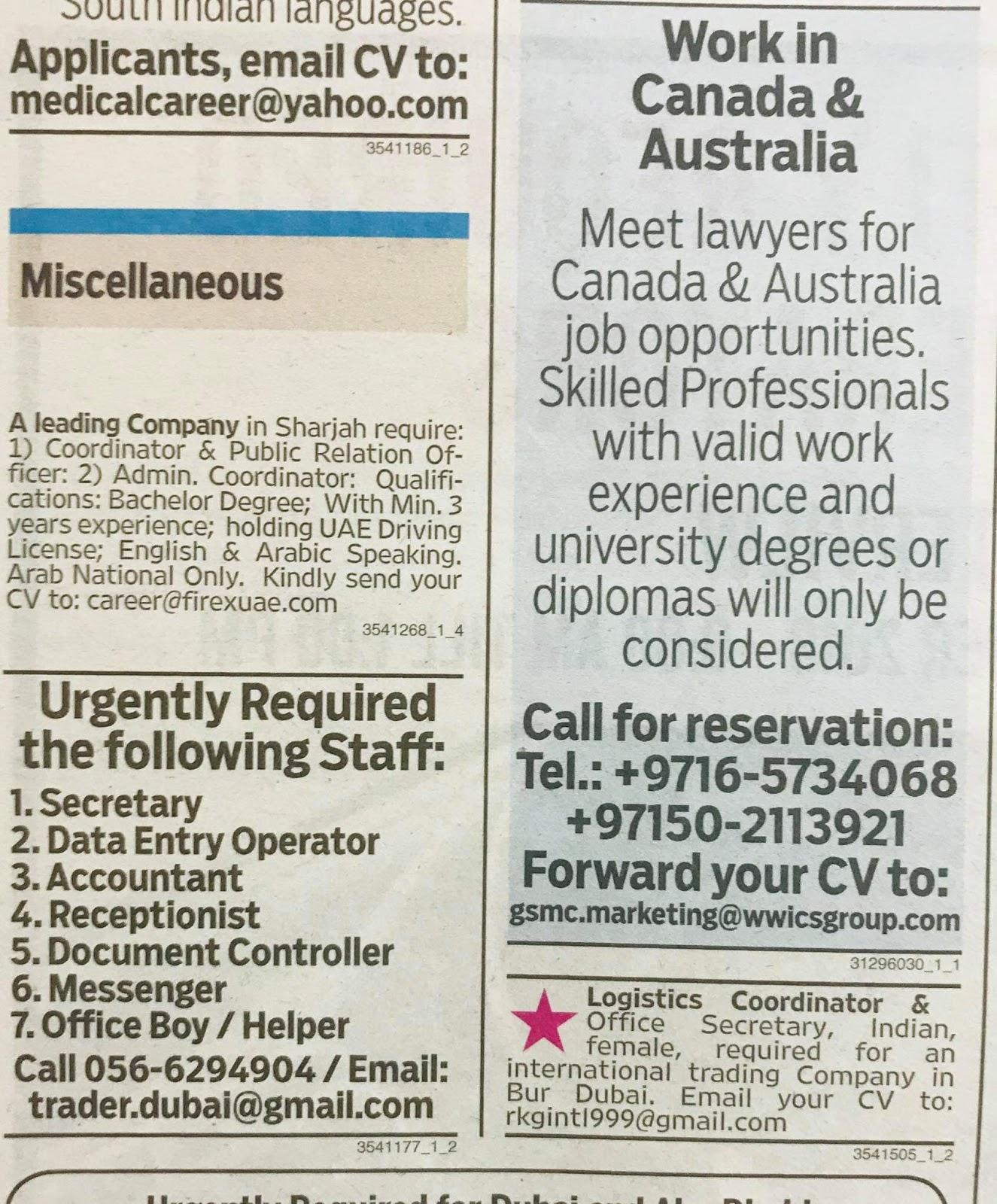 Various Categories Jobs in UAE Local Hiring Khaleej Times-UAE