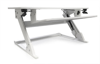 White Height Adjustable Desk Riser
