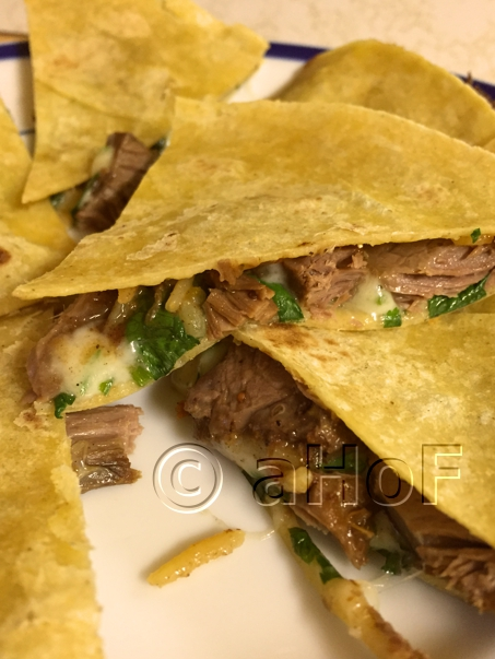 Lamb Quesadilla with Pepperjack cheese and cilantro