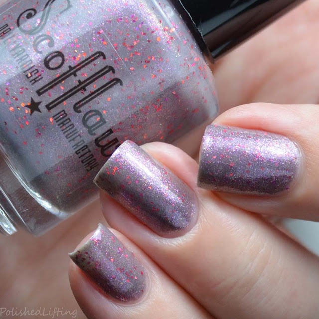gray nail polish with violet sparkle