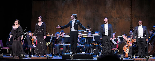 Rossini Fireworks! - Elena Xanthoudakis; Catherine Carby; John Andrews; Luciano Botelho; John-Colyn Gyeantey - English Touring Opera (Photo William Knight)