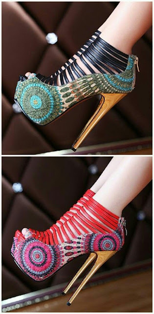 Flower print high heel
