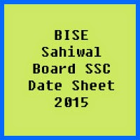 SSC Date Sheet 2017 BISE Sahiwal Board
