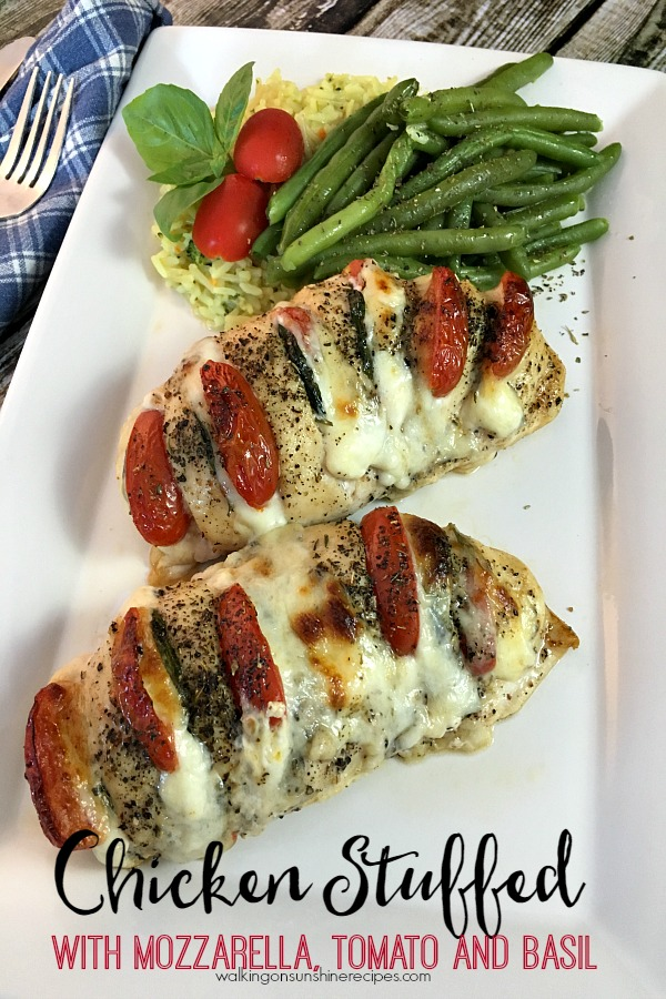 Chicken Stuffed with Mozzarella, Tomato and Basil from Walking on Sunshine Recipes.