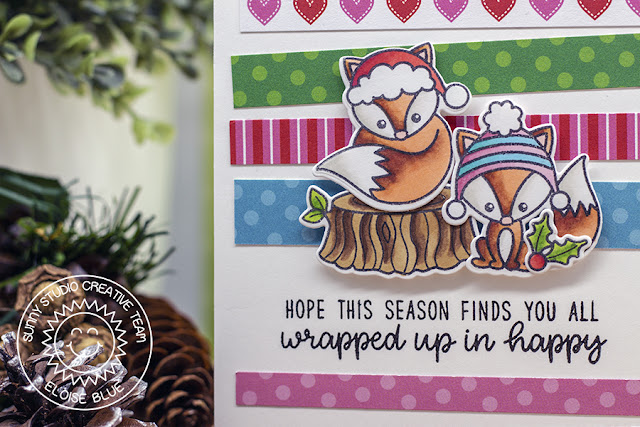 Sunny Studio Stamps: Foxy Christmas Holiday Cheer Paper Pad Colorful Winter Themed Holiday Card by Eloise Blue