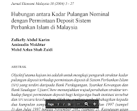 Cntoh Jurnal Ekonomi Malaysia – Hubungan antara Kadar Pulangan Nominal  dengan Permintaan Deposit Sistem  Perbankan Islam di Malaysia Pdf Download