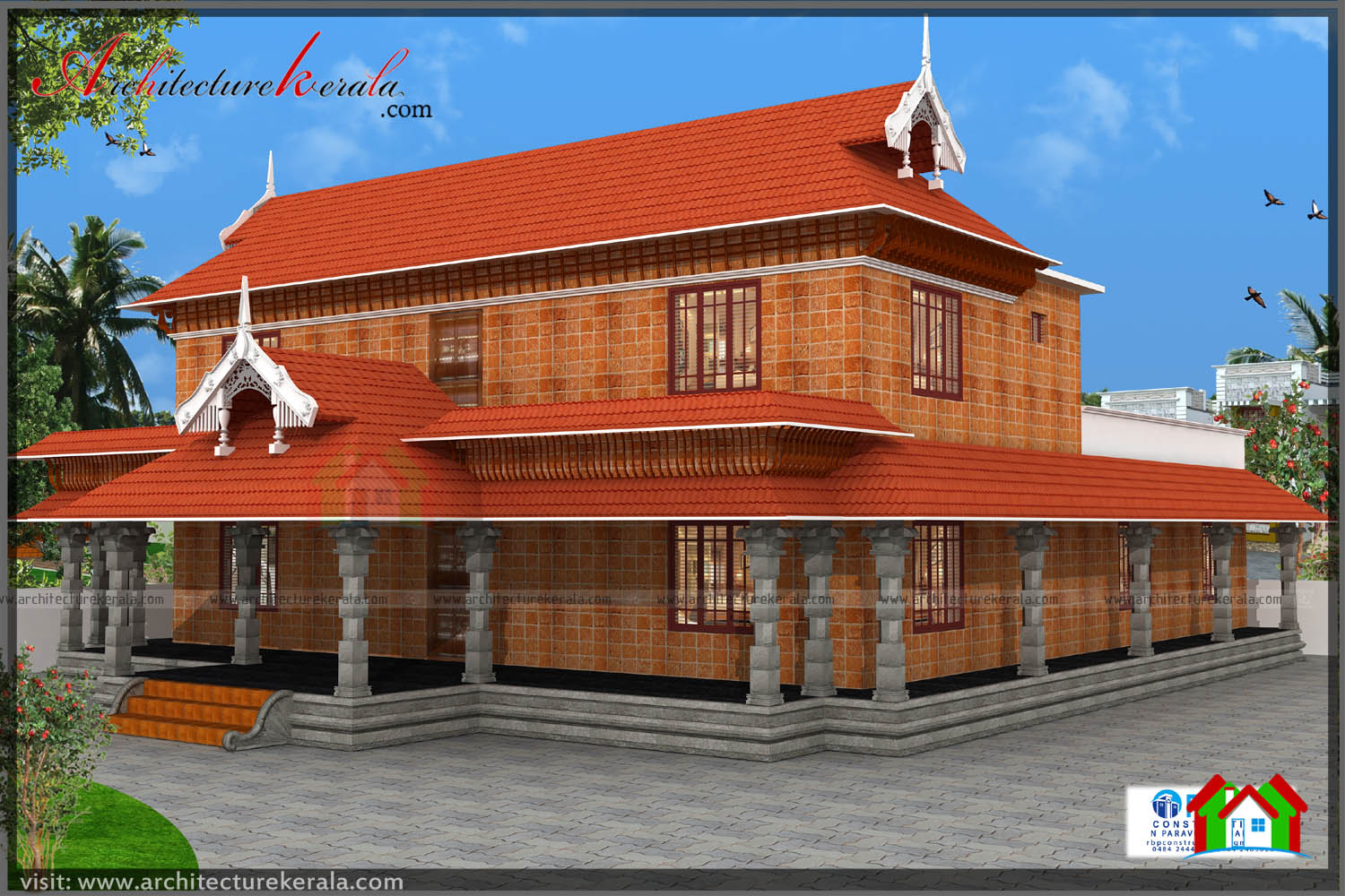 Traditional kerala style house plan with two elevations for Kerala building elevation