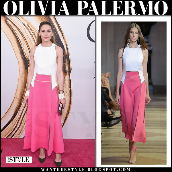 Olivia Palermo in white and pink maxi dress carolina herrera CFDA red carpet 2016 what she wore