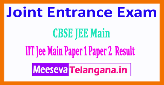 JEE Main Result 2018 Joint Entrance Exam Result 2018 Paper 1 Paper 2 Download