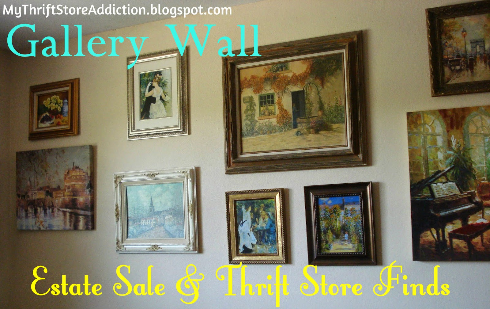 Gallery wall created from estate sale finds