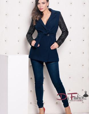 Palton albastru ieftin