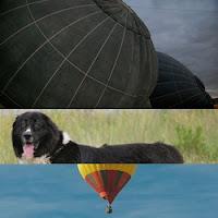 Balão acidentado caindo em terreno