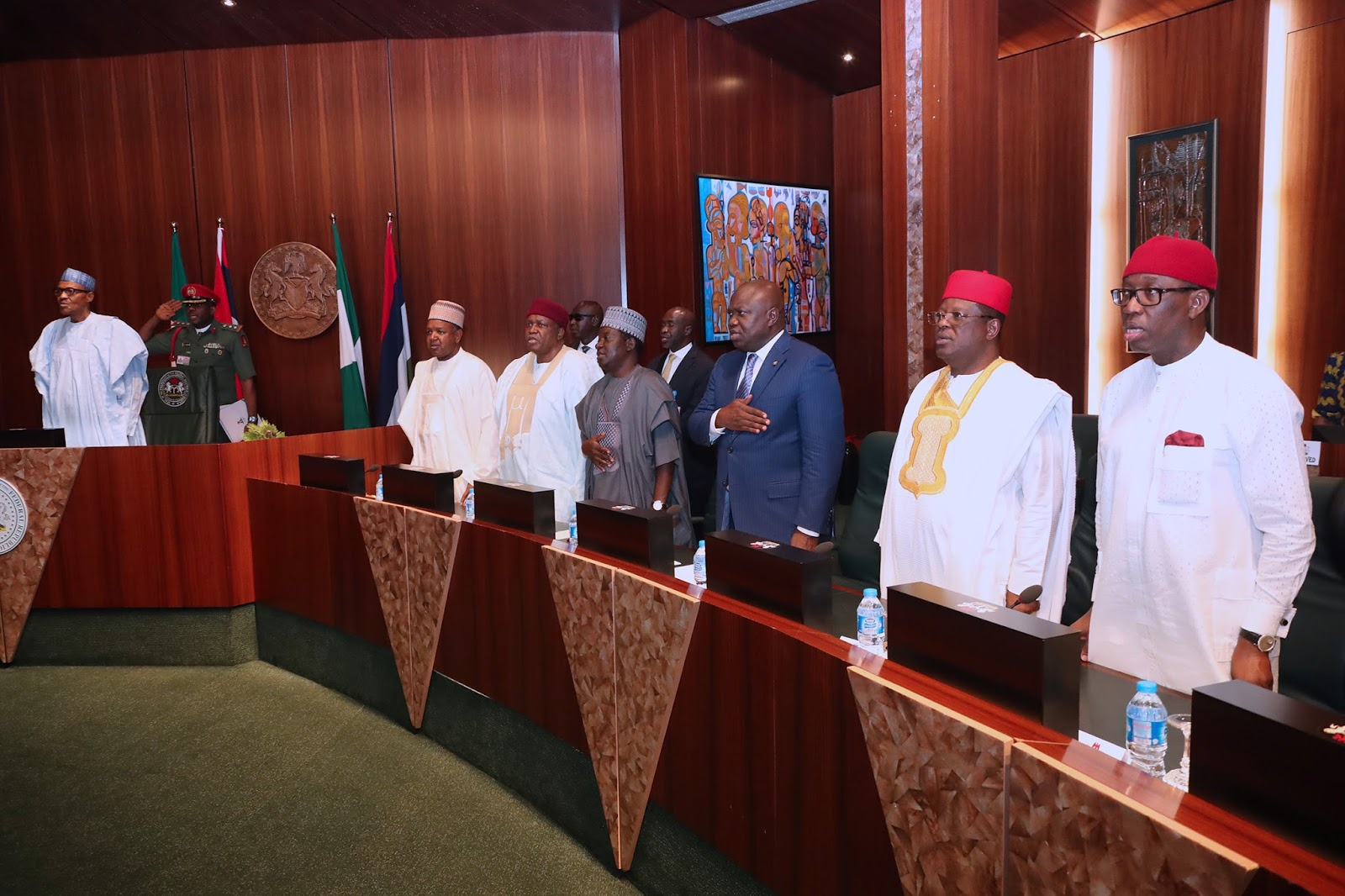 L R President Muhammadu Buhari Kebbi State Governor