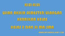 Kisi-kisi Ujian Akhir Semester Genap Kelas X dan XI MA/SMA
