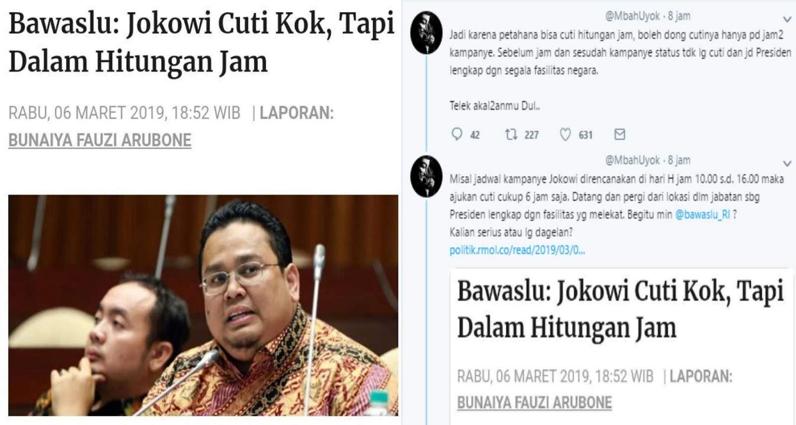 Bawaslu: Jokowi Cuti, Tai Dalam Hitungan Jam, Netizen: Bawaslu, Kalian Serius atau Dagelan?